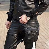 Сумки и аксессуары handmade. Livemaster - original item Black Leather Leg Hip Bum Waist Rider Bag. Handmade.