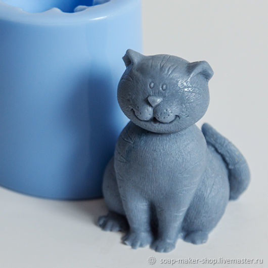 Silicone mold for soap 'cat 3 3D', Form, Shahty,  Фото №1