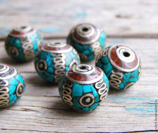 Для украшений ручной работы. Ярмарка Мастеров - ручная работа. Купить Этнические бусины с бирюзой и кораллом, Непал БН28. Handmade.