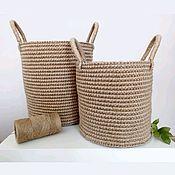 Корзины ручной работы. Ярмарка Мастеров - ручная работа Корзина из джута, корзина для хранения, интерьерная корзина. Handmade.