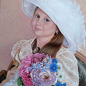 Картины и панно handmade. Livemaster - original item Author`s painting Girl with flowers. Handmade.