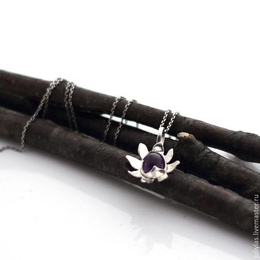 Кулон серебряный с аметистом украшение из серебра 925 цветок купить