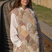 Одежда ручной работы. Ярмарка Мастеров - ручная работа Жилет - куртка из меха овечки с вязанными элементами. Handmade.