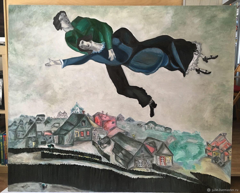 Фантазийные сюжеты ручной работы. Ярмарка Мастеров - ручная работа. Купить Картина копия М.Шагал Над городом. Handmade.
