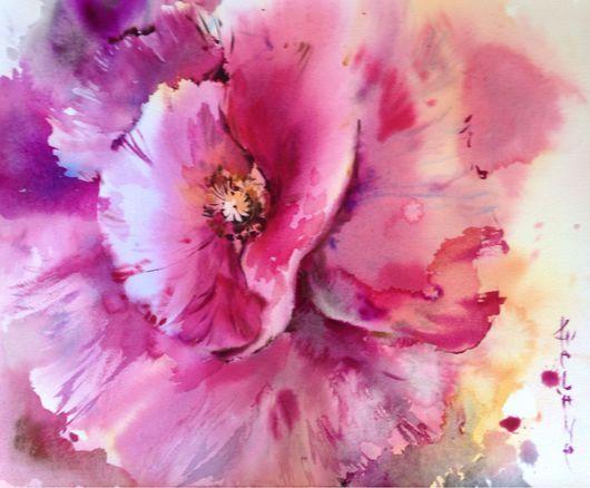 Картины цветов ручной работы. Ярмарка Мастеров - ручная работа. Купить Акварель Розовый Мак. Handmade. Акварель, акварель по- сырому