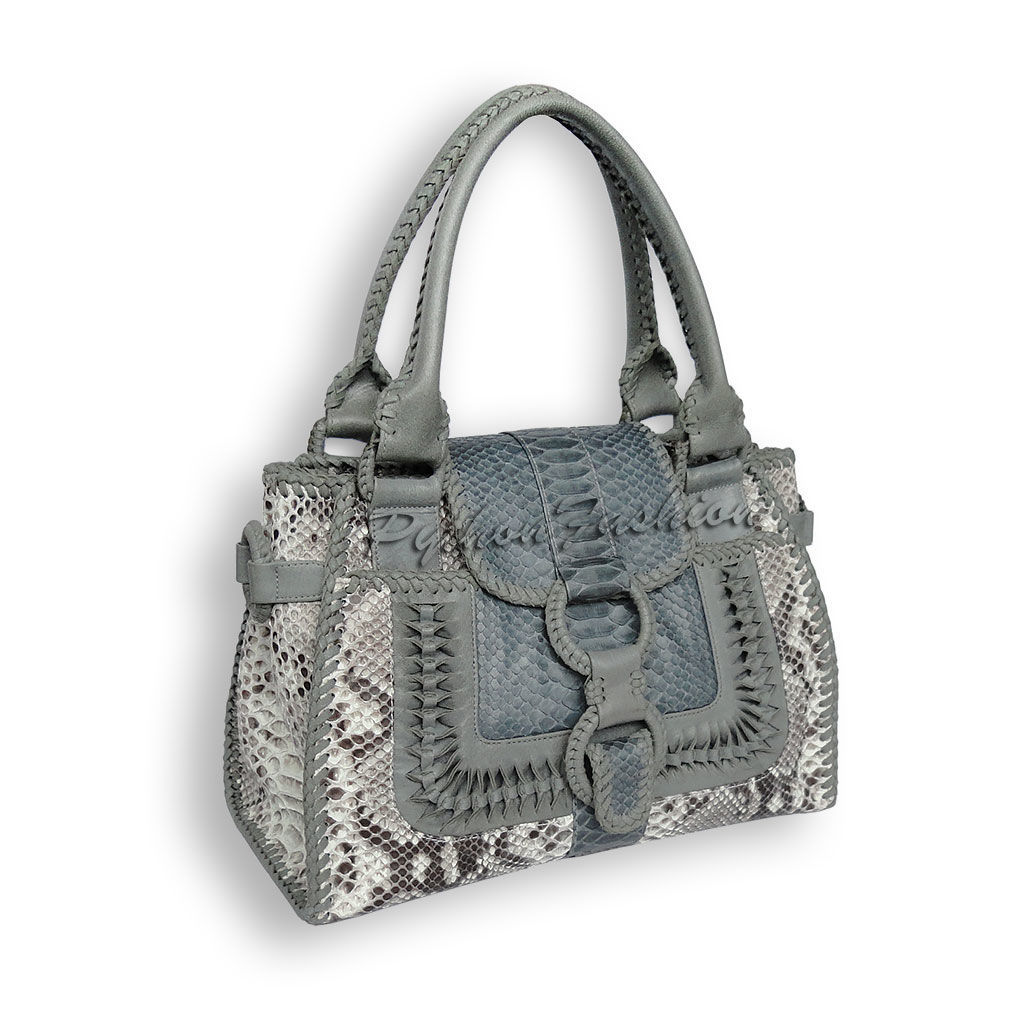 Bag leather Python. An unusual bag made from Python. Women's bag with netting. Fashion bag decoration, handmade. Stylish bag made from Python leather with long handles. Womens leather shoulder bag