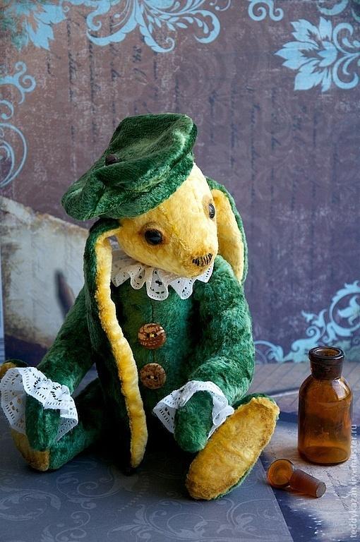 Мишки Тедди ручной работы. Ярмарка Мастеров - ручная работа. Купить Тедди кролик Луи. Handmade. Зеленый, Винтажный плюш