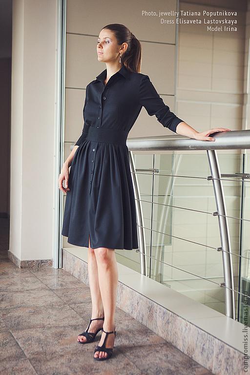 Платья ручной работы. Ярмарка Мастеров - ручная работа. Купить элегантное платье. Handmade. Черный, офисный стиль, шерсть