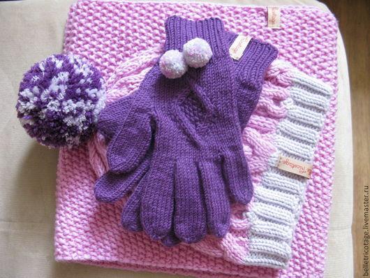 Одежда для девочек, ручной работы. Ярмарка Мастеров - ручная работа. Купить Детский комплект Шапка, снуд, перчатки. Handmade. Фиолетовый