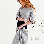 Одежда ручной работы. Ярмарка Мастеров - ручная работа Чёрно-белое платье из льна «Сёдо». Handmade.