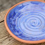 Посуда ручной работы. Ярмарка Мастеров - ручная работа Керамическая тарелка Синяя. Handmade.