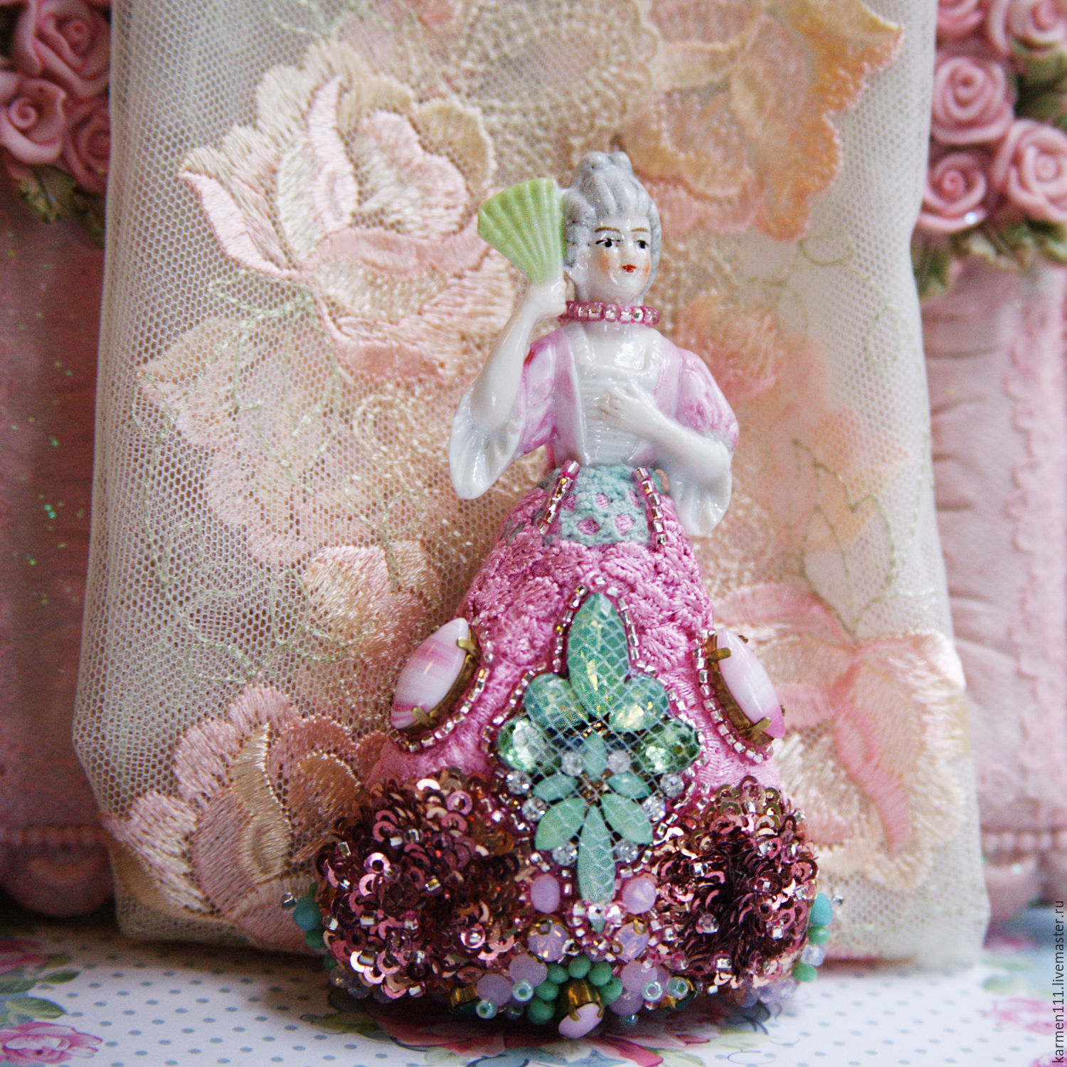 """Brooch handmade """"Marquise de Pompadour"""" in vintage style, Brooches, Moscow,  Фото №1"""
