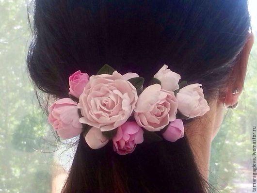 Заколки ручной работы. Ярмарка Мастеров - ручная работа. Купить Пионовая заколка для волос. Handmade. Бледно-розовый, украшение для волос