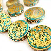 Материалы для творчества handmade. Livemaster - original item Beads, Indonesia clay coins with alloy plates. Handmade.