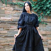 """Одежда ручной работы. Ярмарка Мастеров - ручная работа Нарядное платье из шитья """"Черная жемчужина"""" платье с поясом. Handmade."""