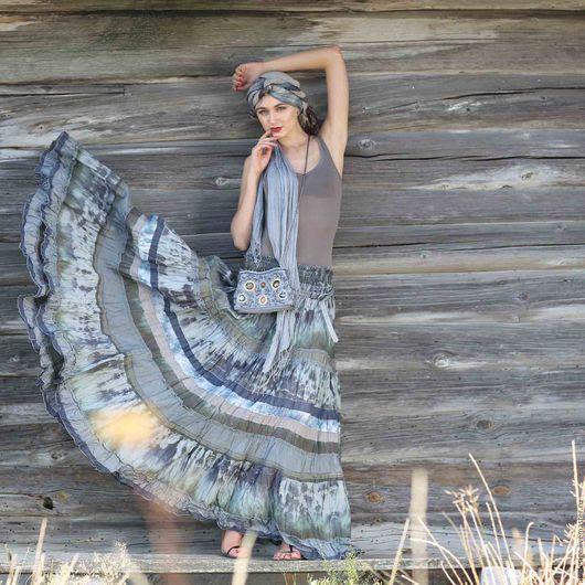 Юбки ручной работы. Ярмарка Мастеров - ручная работа. Купить Длинная серая шелковая юбка в стиле бохо многоярусная .. Handmade.