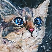 Картины и панно handmade. Livemaster - original item Oil painting Curious cat. Handmade.