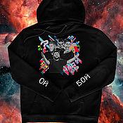Мужская одежда handmade. Livemaster - original item Hand-painted hoodies / hoodies. Handmade.