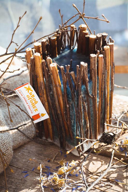 """Свечи ручной работы. Ярмарка Мастеров - ручная работа. Купить Свеча """"Дух леса"""". Handmade. Морская волна, голубой, ветки"""
