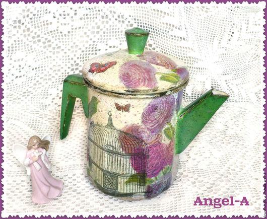 Винтажная посуда. Ярмарка Мастеров - ручная работа. Купить Кофейник эмалированный Летнее настроение. Handmade. Комбинированный