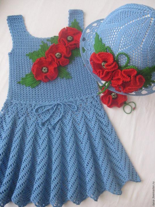 Одежда для девочек, ручной работы. Ярмарка Мастеров - ручная работа. Купить Летний комплект. Handmade. Комбинированный, сарафан и шляпка