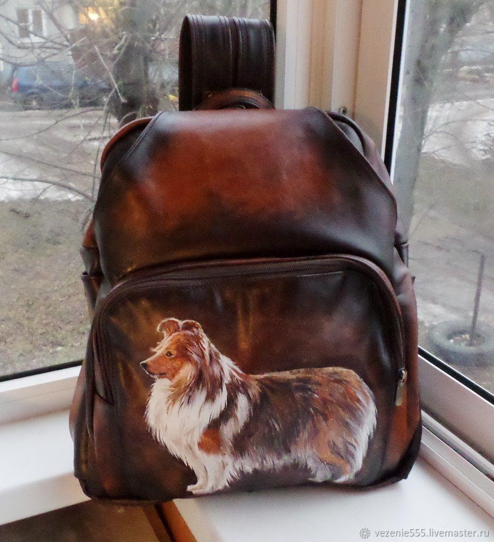 Рюкзак кожаный с ручной росписью на заказ для Ольги, Классическая сумка, Ногинск,  Фото №1