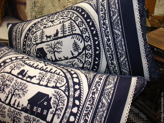 """Текстиль, ковры ручной работы. Ярмарка Мастеров - ручная работа. Купить Подушки декоративные """"Зимняя филигрань"""". Handmade. Синий"""