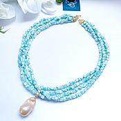 Украшения handmade. Livemaster - original item Necklace with natural larimar and baroque pearls. Handmade.