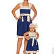 Платья ручной работы. Ярмарка Мастеров - ручная работа. Купить Платья для мамы и дочки Бегущая по волнам. Handmade. Тёмно-синий