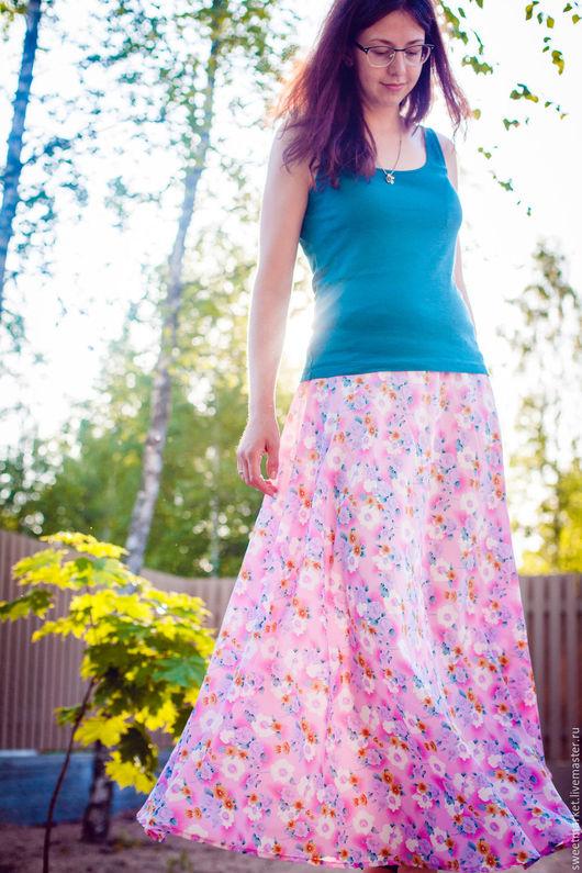 Юбки ручной работы. Ярмарка Мастеров - ручная работа. Купить Невесомая юбка в пол. Handmade. Розовый, юбка длинная