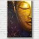 Символизм ручной работы. Ярмарка Мастеров - ручная работа. Купить Buddha... Картина маслом, холст. Handmade. Индиго, вода