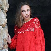 """Одежда handmade. Livemaster - original item Длинное льняное платье с вязаной кокеткой """"Алое чудо"""" платье из льна. Handmade."""