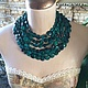 Авторское украшение из натуральных камней колье ожерелье на шею ручной работы бирюзового цвета оригинальное стильное украшение фото