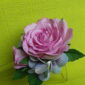 Украшения ручной работы. Ярмарка Мастеров - ручная работа заколка ручной работы роза с гортензией. Handmade.