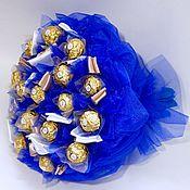"""Цветы и флористика ручной работы. Ярмарка Мастеров - ручная работа """"Синий бархат"""" букет из конфет. Handmade."""