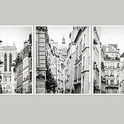 Картины и панно ручной работы. Ярмарка Мастеров - ручная работа Париж Картины Триптих черно белые Фотокартины город «По улицам Парижа». Handmade.