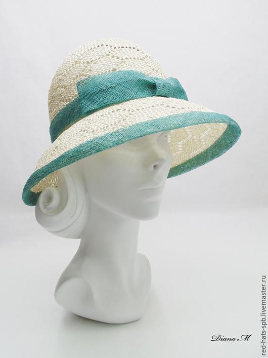 """Шляпы ручной работы. Ярмарка Мастеров - ручная работа. Купить Шляпа с полями """"Дива"""" Летняя. Handmade. Морская волна"""
