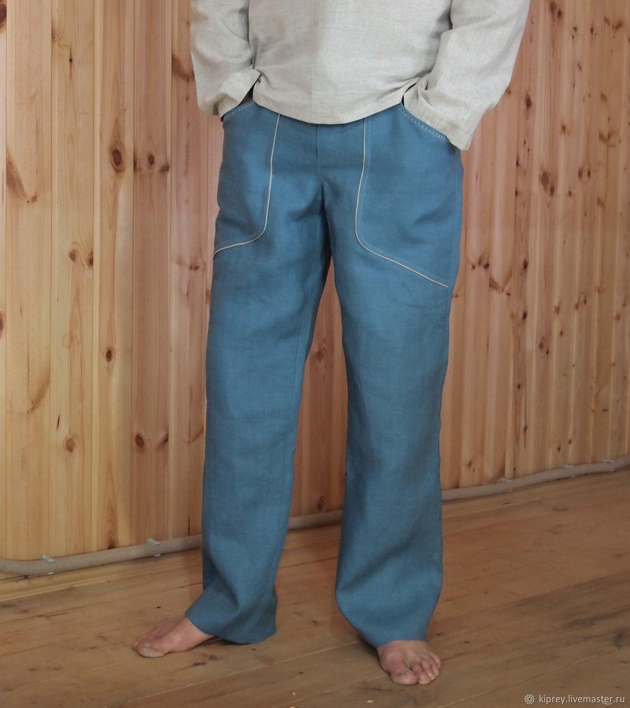 """Мужские льняные брюки """"Синий лён"""" с накладными карманами, Брюки мужские, Россошь,  Фото №1"""