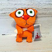 Куклы и игрушки handmade. Livemaster - original item Keychain cat with axe plush stuffed toy, multi-colored. Handmade.