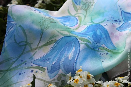 Шарфы и шарфики ручной работы. Ярмарка Мастеров - ручная работа. Купить Шарф Колокольчики. Handmade. Голубой, batik