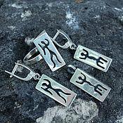 Украшения handmade. Livemaster - original item Earrings, ring and pendant Rock Paintings of 925 silver. Handmade.
