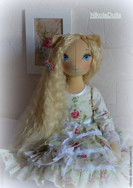Коллекционные куклы ручной работы. Ярмарка Мастеров - ручная работа. Купить Кошечка. Авторская кукла 60 см. Handmade. Салатовый