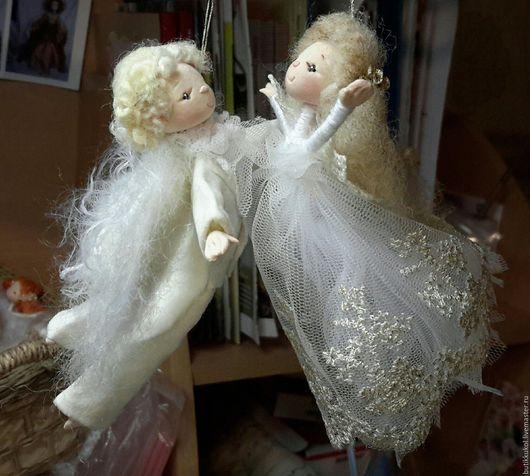 Подарки для влюбленных ручной работы. Ярмарка Мастеров - ручная работа. Купить влюблённые ангелочки. Handmade. Белый, подарок на новый год, пластик
