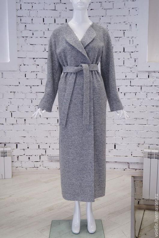 пальто-халат демисезонное оверсайз женское на весну, на осень, без подкладки серое меланж необычное, на двух пуговицах
