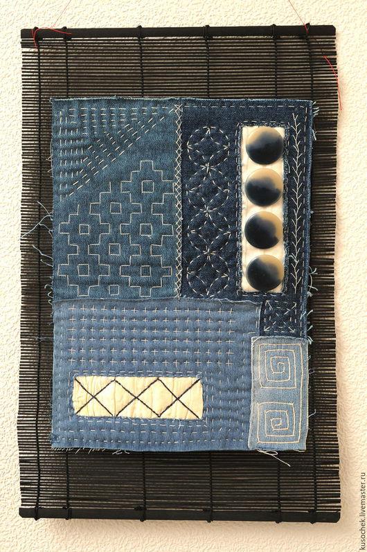 Абстракция ручной работы. Ярмарка Мастеров - ручная работа. Купить Панно в японском стиле. Handmade. Тёмно-синий, домашний уют