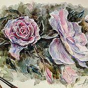 """Картины и панно ручной работы. Ярмарка Мастеров - ручная работа Миниатюра акварелью  """"Розовая пастель"""". Handmade."""