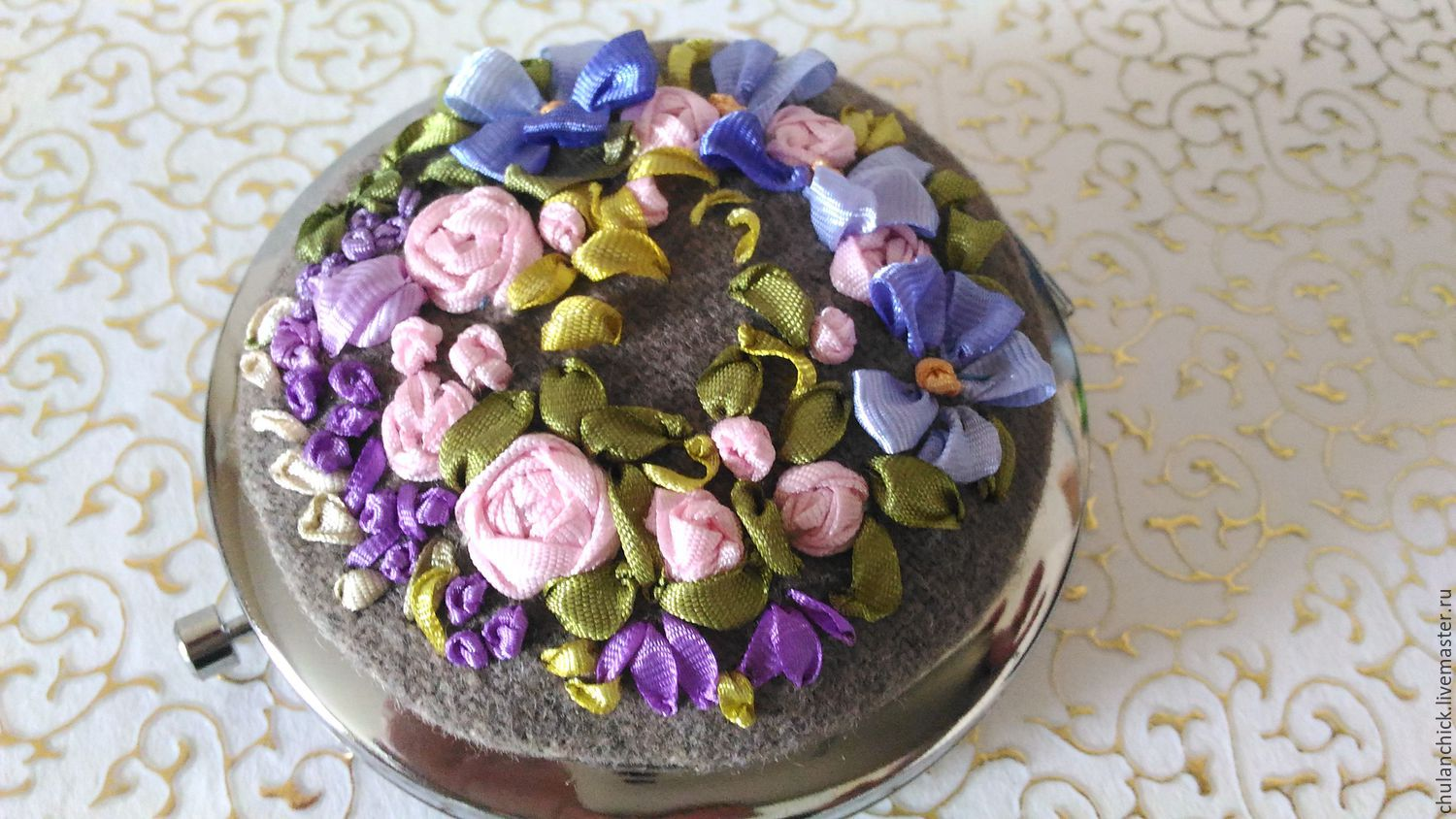 """Pocket mirror with ribbon embroidery """"Violaceous"""", Mirror, St. Petersburg,  Фото №1"""