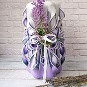 Сувениры и подарки handmade. Livemaster - original item Carved candle with Lavender decor. Handmade.