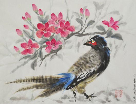 `Ожидание` (Фазан в камелиях розового цвета). Китайская живопись, се-и. Персональная выставка `Цветы и птицы-символы души`, 2014 год.