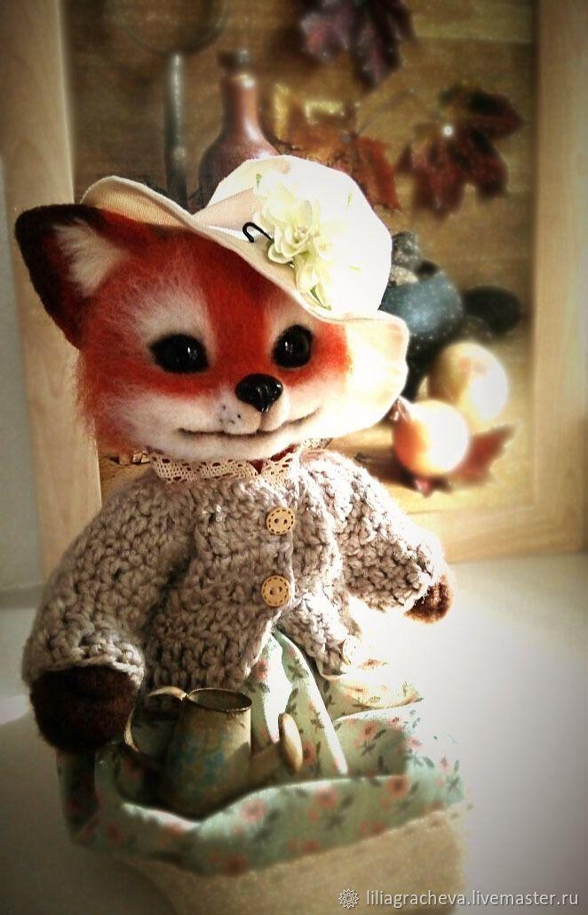 Fox Pelageyushka. Fulled (felted) wool, Felted Toy, Schyolkovo,  Фото №1